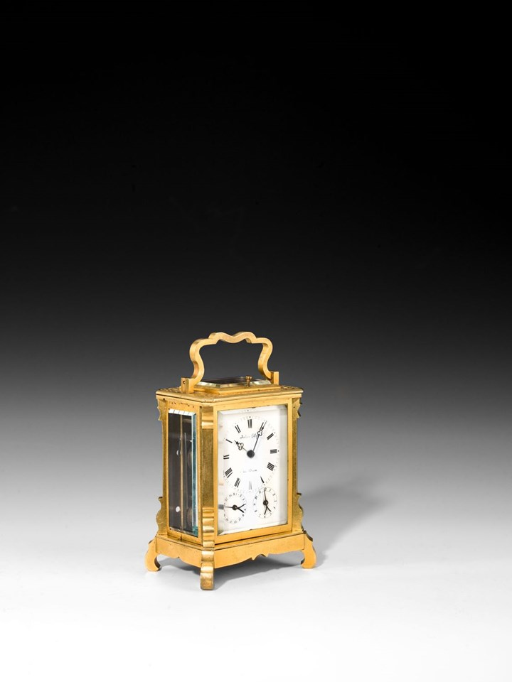 BIEDERMEIER CARRIAGE CLOCK WITH DATE, ALARM AND CASE
