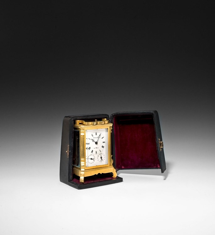 Anton  Liszt - BIEDERMEIER CARRIAGE CLOCK WITH DATE, ALARM AND CASE | MasterArt