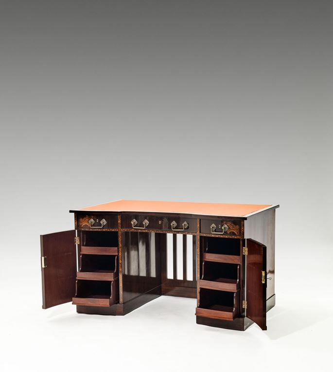 "Bernhard Ludwig - DESK AND CHAIR ""MÜNCHEN"" from FURNITURE FOR A GENTLEMEN'S STUDY consisting of: bookcase, desk and chair, side table, long case clock  