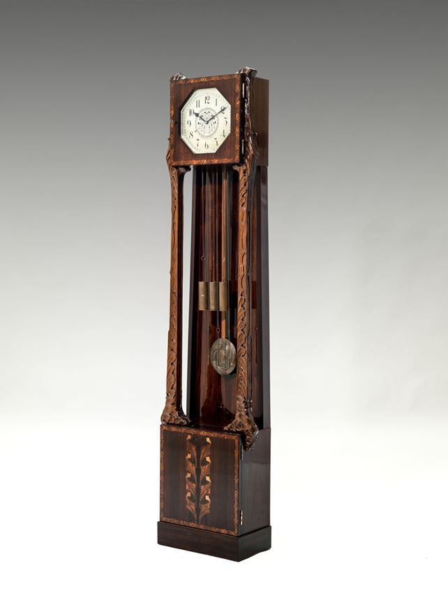 "Bernhard Ludwig - LONG CASE CLOCK ""MÜNCHEN"" from FURNITURE FOR A GENTLEMEN'S STUDY consisting of: bookcase, desk and chair, side table, long case clock   