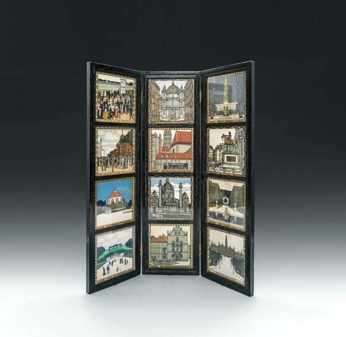 Josef  Hoffmann - FOLDING SCREEN WITH VEDUTES LITHOGRAPHS SHOWING VIEWS OF VIENNA | MasterArt