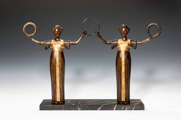 TWO FEMALE BRONZE FIGURINES