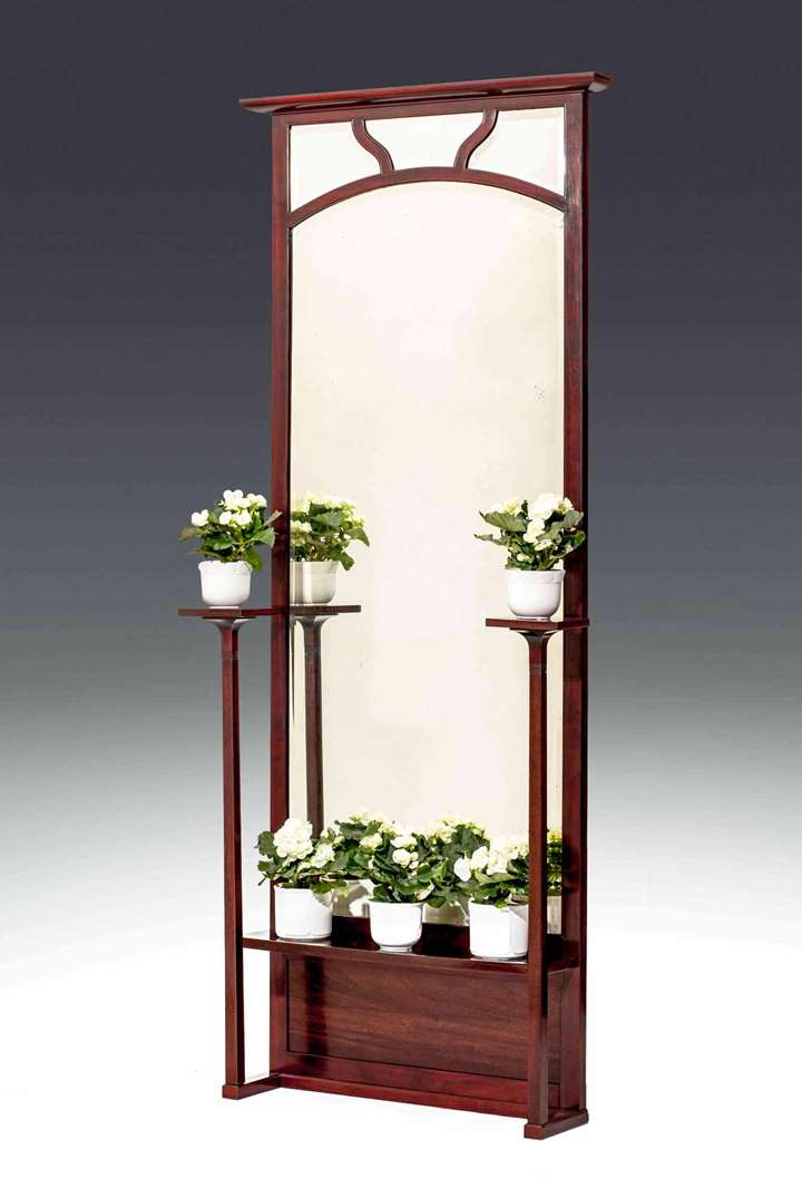 HALL MIRROR WITH TWO PLANT STANDS