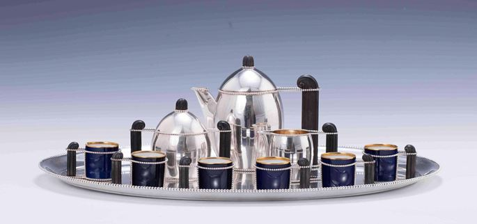 Hermann Südfeld - TEN PIECE SILVER MOCHA SERVICE consisting of: mocha pot, creamer, sugar bowl, 6 cups, oval tray  | MasterArt