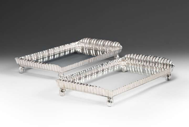 A Pair of Silver Rectangular Trays