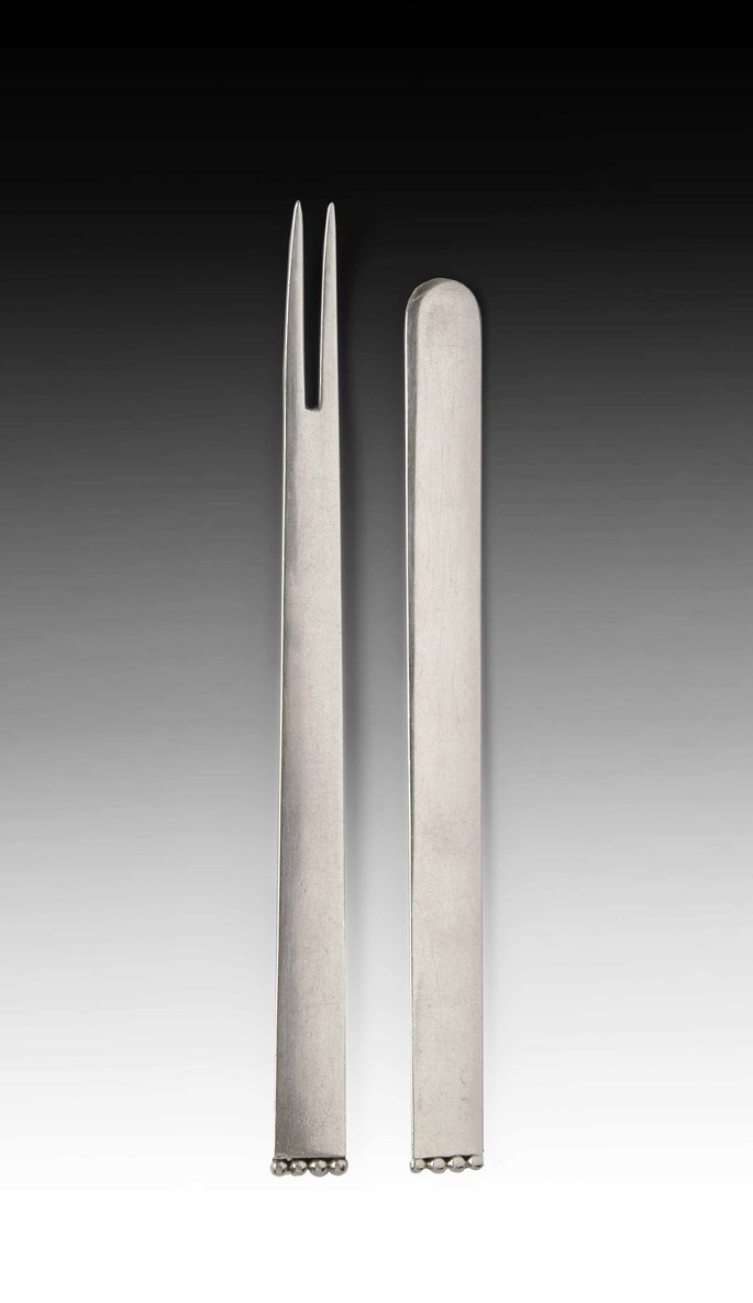 "Josef  Hoffmann - Butter Knife and Crayfish Fork From the ""Flat Model"" Cutlery Serie 