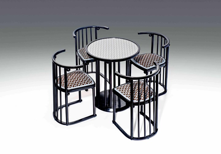 "FOUR ""FLEDERMAUS"" CHAIRS AND TABLE"