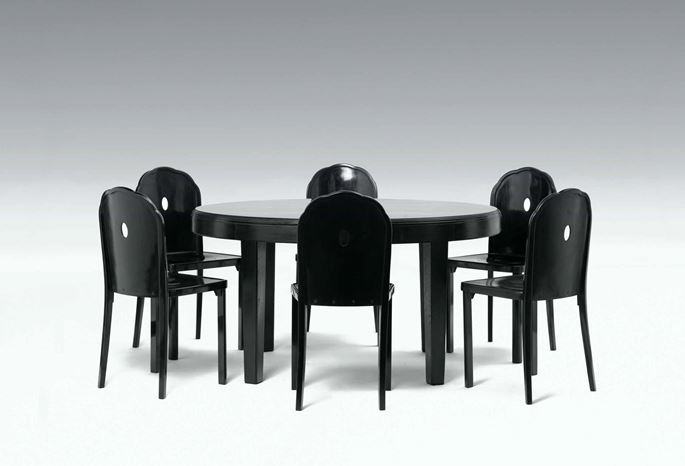 Josef  Hoffmann - Furniture for the Apartment of Berta Zuckerkandl (small dining-room table, 12 chairs, sideboard) | MasterArt