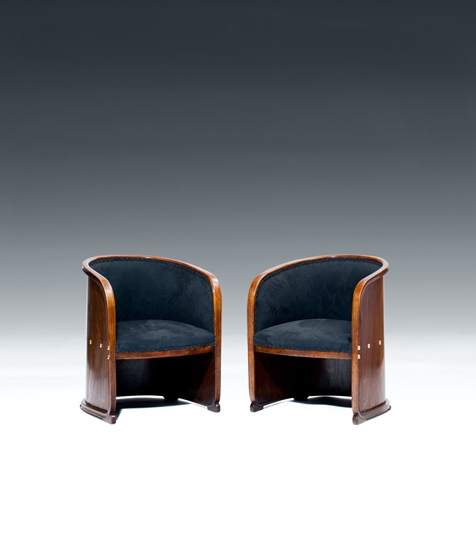Josef  Hoffmann - TWO ARMCHAIRS so-called BARREL CHAIRS | MasterArt
