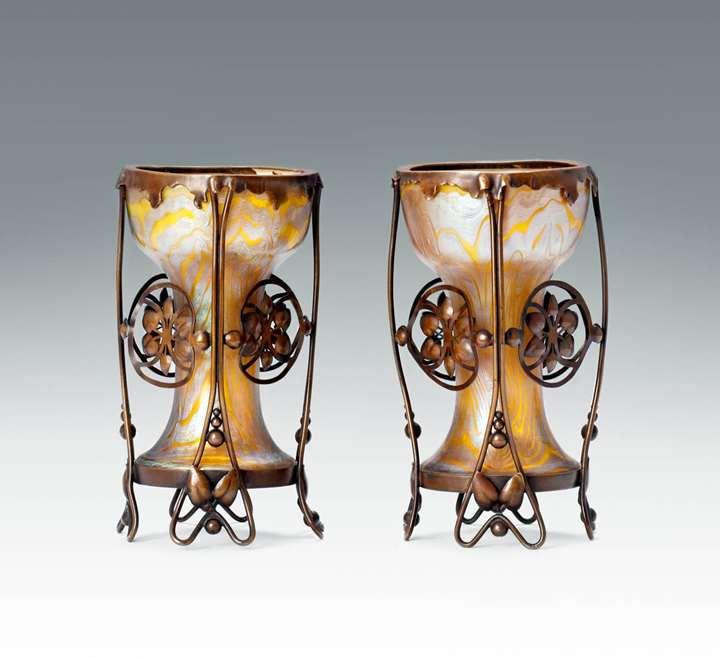 A Pair of Mounted Vases