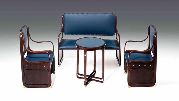 Moser Koloman - SEATING GROUP consisting of: 1 settee, 2 armchairs, 1 table  | MasterArt
