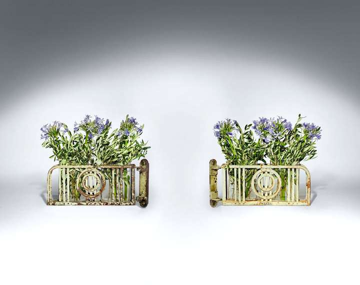 FOUR PAIRS OF EXTRAORDINARY HINGED WALL JARDINIERS