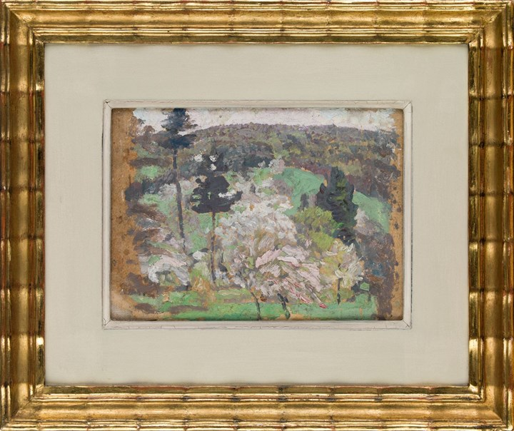 HILLY LANDSCAPE WITH BLOOMING TREES