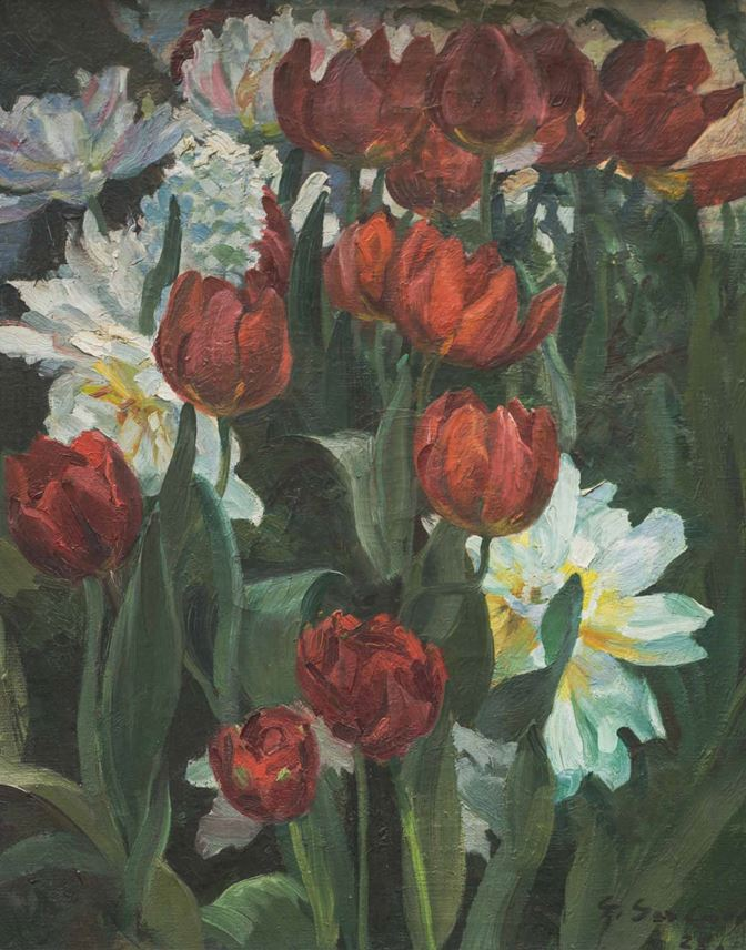 Georg Gerlach - STILL LIFE WITH PEONIES AND TULIPS  | MasterArt