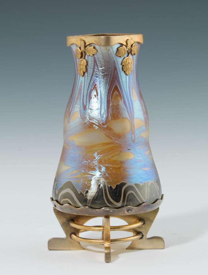 VASE WITH BRASS MOUNT