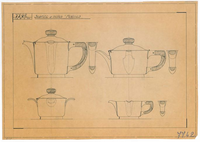 "Wolfers Frères - SILVER TEA SERVICE ""MALINES"" consisting of: teapot, milk jug, sugar bowl, oval tray  