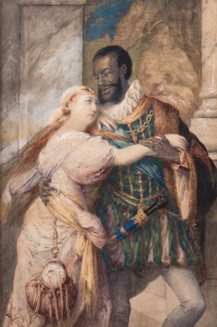"""OTHELLO AND DESDEMONA - SCENE FROM SHAKESPEARE'S ""OTHELLO, THE MOOR OF VENICE"""""