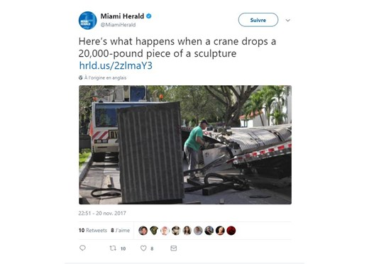 Falling Sculptures and Rising Ironies in Miami