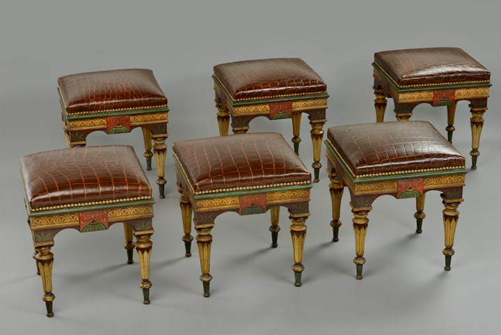 A set of six Neopompeian lacca stools