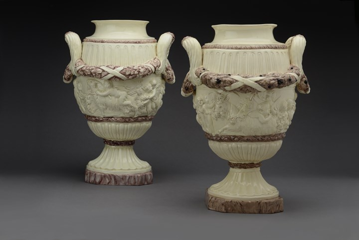 A near pair of Earthenware vases