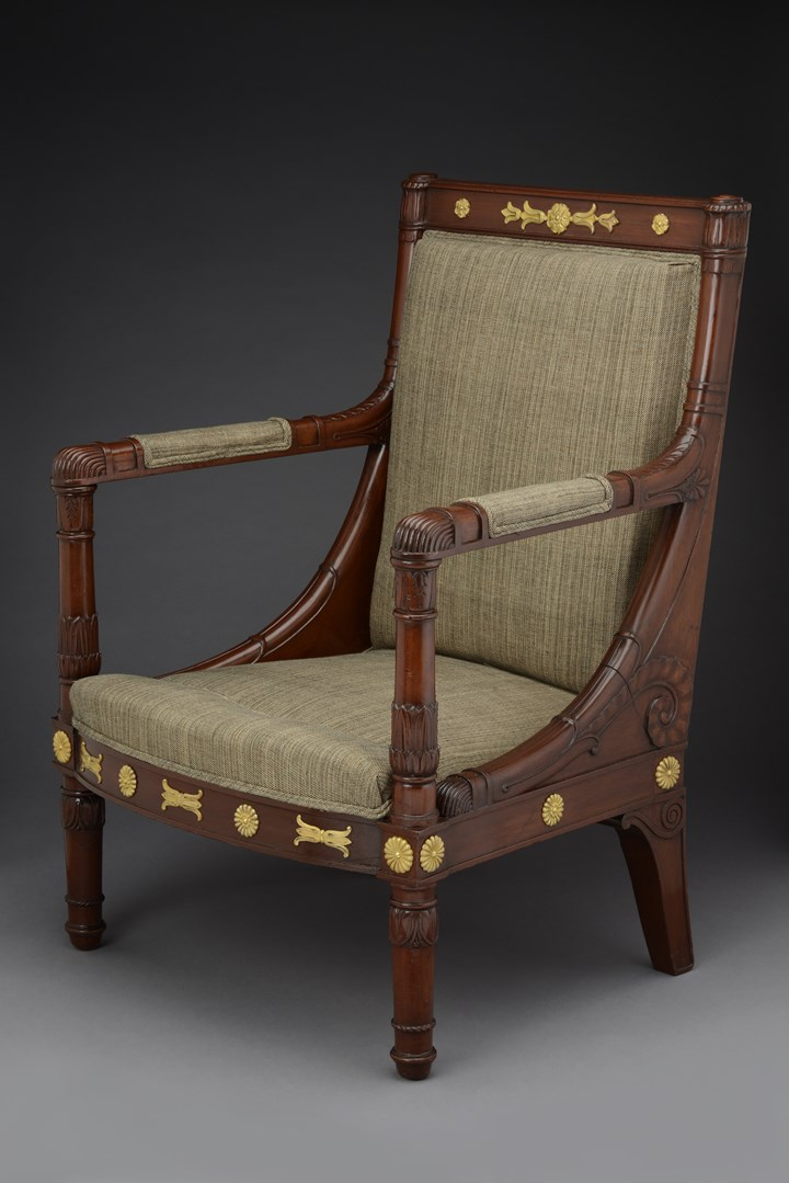 An Empire ormolu mounted mahogany armchair