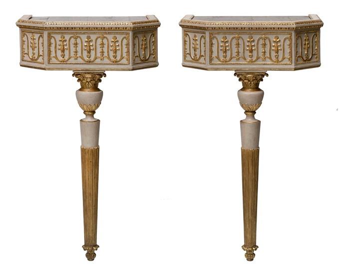 Crispino Vivilacqua - A pair of neoclassical console table with pietra dura table tops | MasterArt