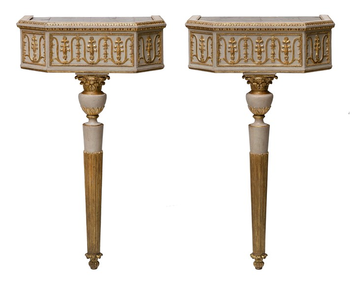 A pair of neoclassical console table with pietra dura table tops