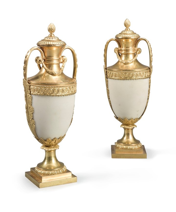 A Pair of George III Ormolu-mounted White Marble Urns