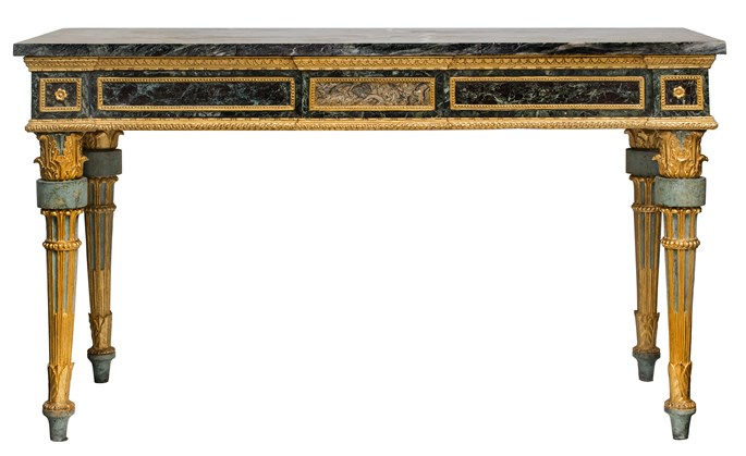 A pair of north italian neoclassical lacca console tables with green marble tops | MasterArt