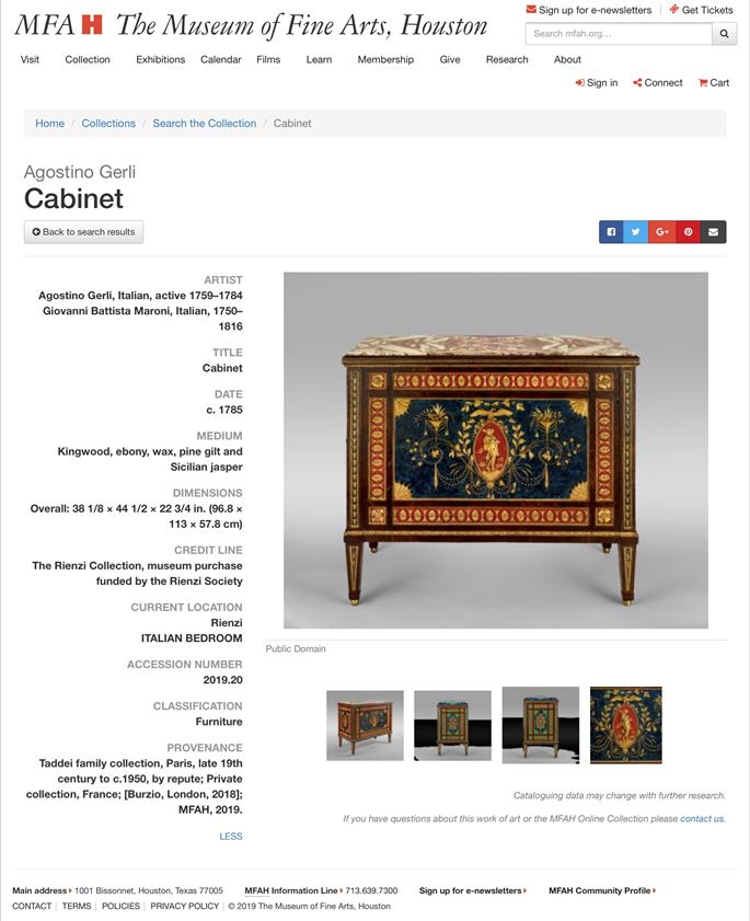 Agostino Gerli - A Very Important Neoclassical Red and Blue Encaustic, Gilt Reliefs and precious woods marquetry Cupboard | MasterArt
