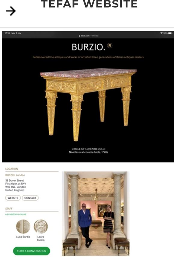An Italian carved and giltwood neoclassical Console table, with a rectangular peperino top with Roman ancient alabastro a pecorelle veneer | MasterArt