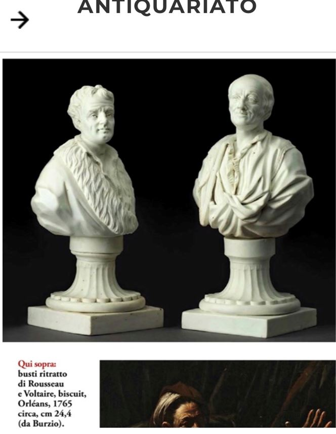 Two portrait busts of Rousseau and Voltaire | MasterArt