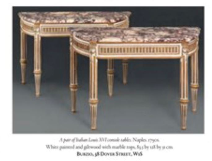 A pair of Italian Royal Louis XVI lacca and giltwood console tables with breccia di Vituliano marble tops | MasterArt