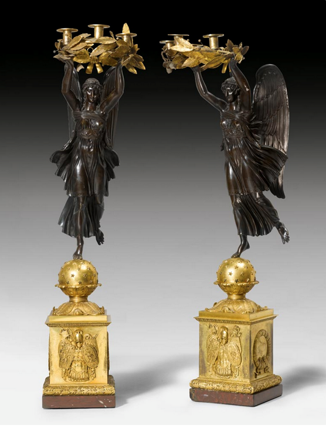 Claude-François Rabiat - A very important pair of empire ormolu and patinated bronze four-light candelabra | MasterArt