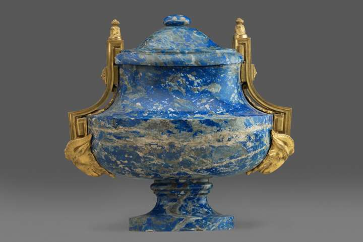 A Louis XVI Ormolu mounted Spanish colonial lapis vase