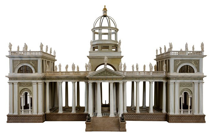 A NORTH ITALIAN PAINTED ARCHITECTURAL MODEL, EXECUTED IN THREE PARTS FITTED TOGETHER TO FORM A GARDEN PAVILION, follower of Leopold Pollack
