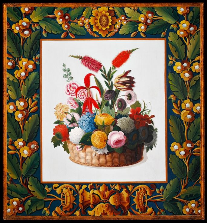 A North italian neoclassical painting rapresenting a basket of flowers | MasterArt