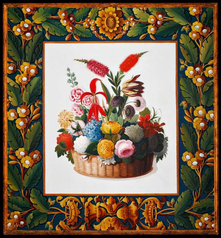 A North italian neoclassical painting rapresenting a basket of flowers