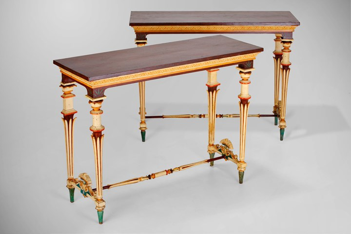 A Pair of Italian Neo-Pompeian Polychrome-painted and Carved Wood Console Tables and a set of six stools en suite.Kingdom of Two Sicilies
