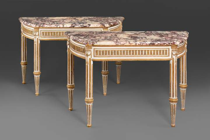 A pair of Italian Royal Louis XVI lacca and giltwood console tables with breccia di Vituliano marble tops