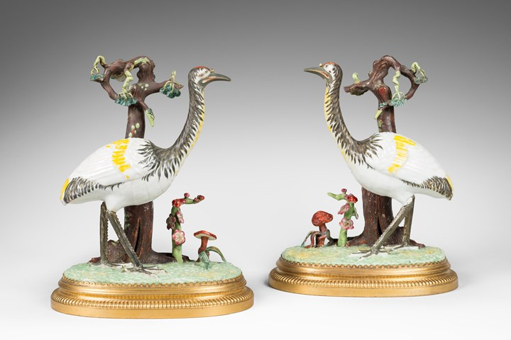 A very rare pair of Louis XVI ormolu-mounted Chinese Export porcelain cranes