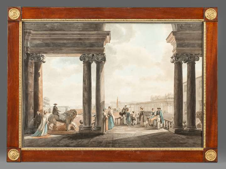 Vues de Rome et ses environs: The Pantheon, The Temple of Antoninus and Faustina and The garden of  the Villa Medici. Now in an important American collection