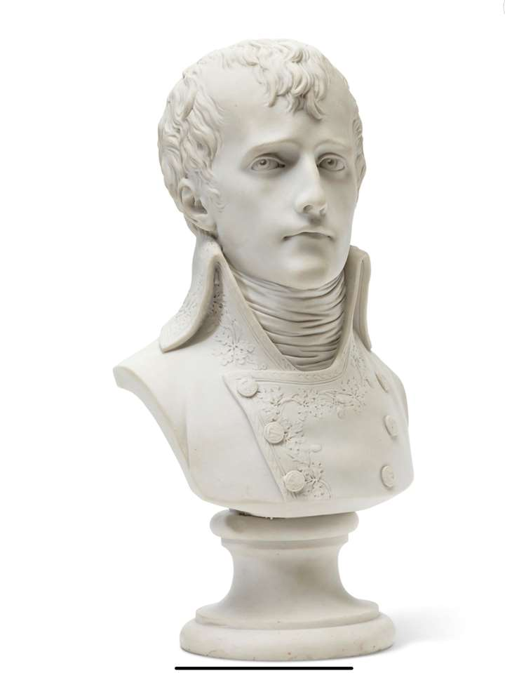 A Sevres biscuit porcelain bust of Napoleon first consul, after Boizot.