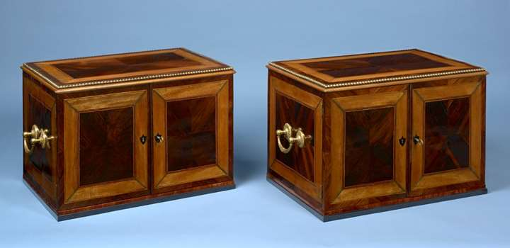 A Pair Of Roman Gilt-Bronze Mounted Rosewood, Satinwood, Ebony and Maple Cabinets