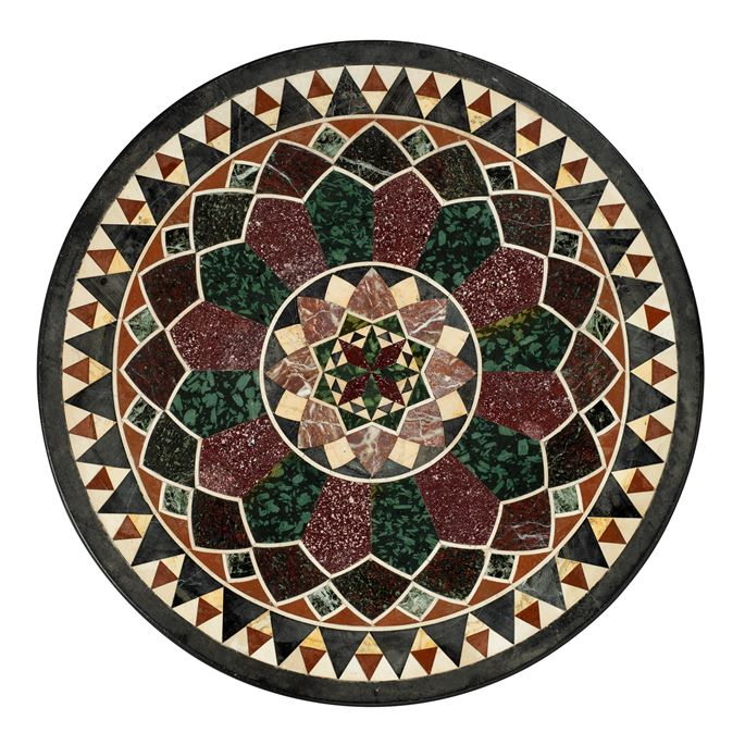 Francesco Sibilio  - AN ITALIAN RED AND GREEN PORPHYRY, SEMI-PRECIOUS STONES AND MARBLE TABLE TOP | MasterArt