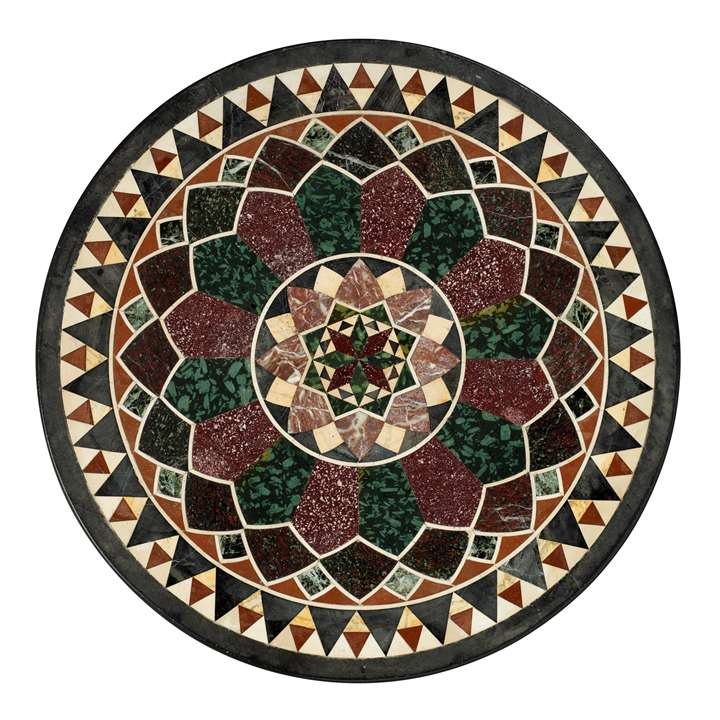 AN ITALIAN RED AND GREEN PORPHYRY, SEMI-PRECIOUS STONES AND MARBLE TABLE TOP