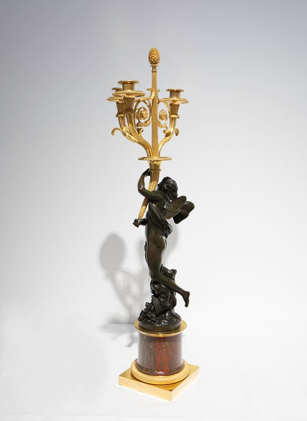 Francois Remond - A Pair of three-branch ormolu Candelabra with patinated bronze figures of Zephyrus and Flora, on rouge griotte marble columns | MasterArt