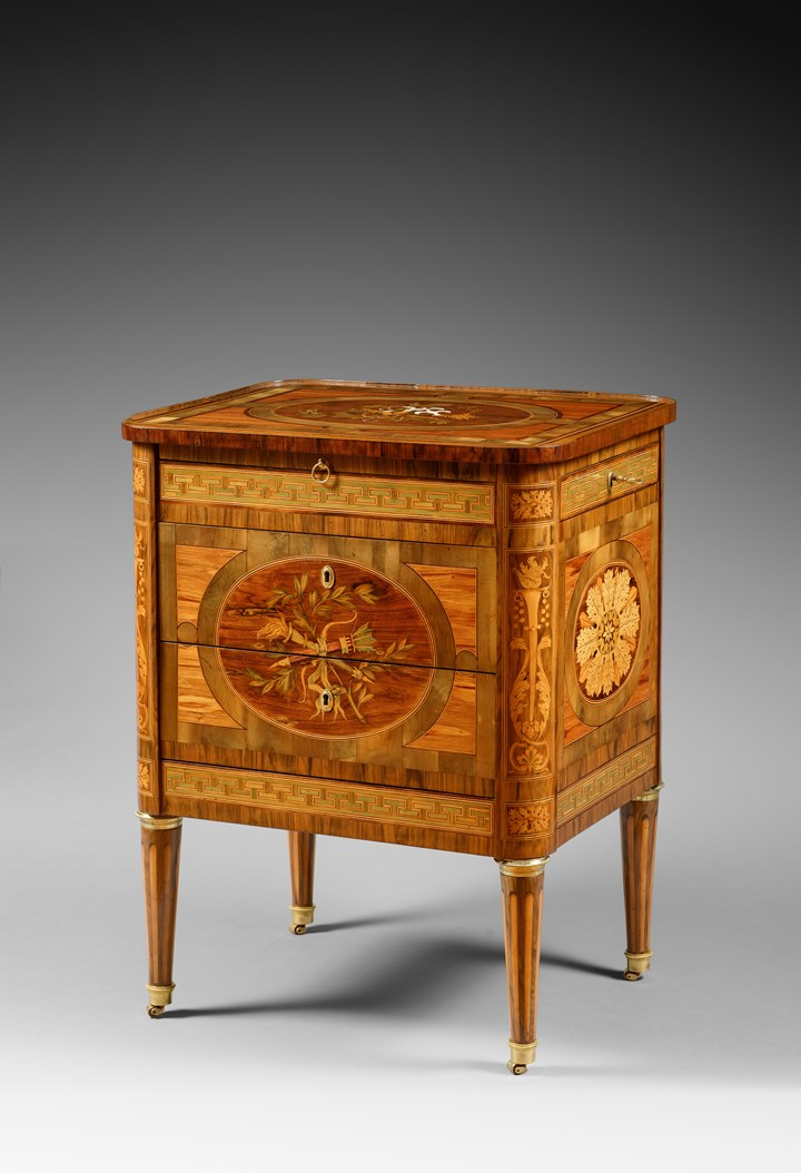 A Unique Italian Neoclassical Marquetry and Ivory Inlaid Commode