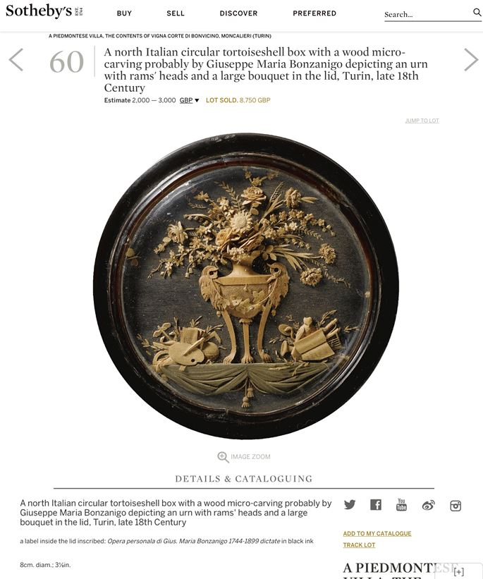 Giuseppe Maria Bonzanigo - A North Italian Circular Tortoiseshell and Gold Mounted Snuff box with a wood micro-carving | MasterArt