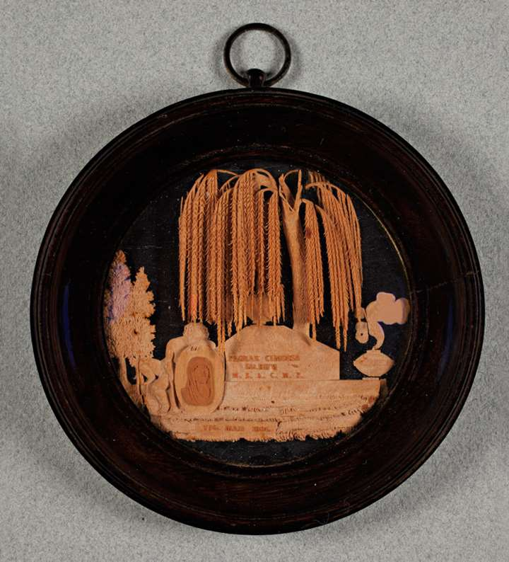 A north Italian fruitwood microcarving on ebony miniature
